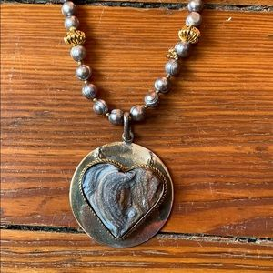 Jewelry - Heart Pendant & Pearl Beads Necklace